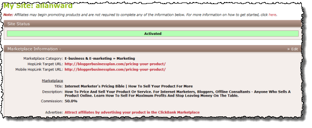 Clickbank Site Settings Screenshot