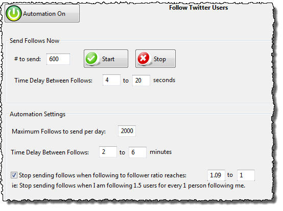 Tweet Adder Follow Users Screen
