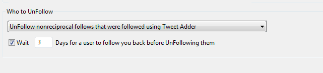 Tweet Adder Unfollow Users Setting